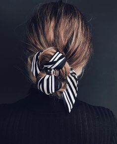 scarf wrapped low bun