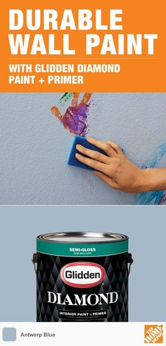 Get beautiful, stain-resistant walls without spending a fortune. Glidden Diamond Paint + Primer holds up to scrubbing better than leading brands for half the cost. It's a great idea for high-traffic areas including kids' rooms, mudrooms and kitchens. Available exclusively at The Home Depot.