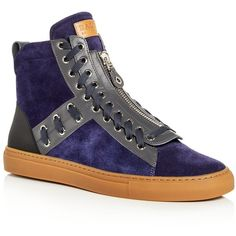 Bally Men's Hekem Lace Embellished Suede High Top Sneakers ($595) ❤ liked on Polyvore featuring men's fashion, men's shoes, men's sneakers, ink blue, mens navy blue sneakers, mens hi tops, mens suede lace up shoes, men's bungee lace sneakers and bally mens sneakers