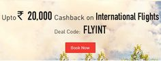 Makemytrip offers Rs 20000 Cashback on International flight and Rs 800 Discount on domestic flight booking activate deal on http://www.couponkato.com/makemytrip-coupons.htm