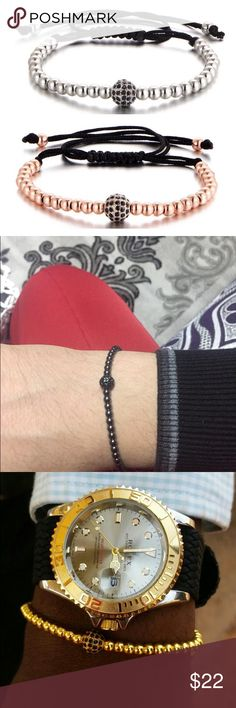 Available in Caviar (blk), Platinum or Rose. Please specify color when making ur purchase. Thanks for visiting! Platinum Jewelry, Adjustable Bracelet, Caviar, Or Rose, Bracelets For Men, Fashion Tips, Fashion Design, Fashion Trends, Body Jewelry
