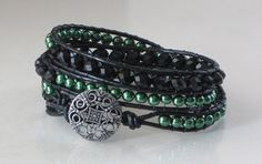 Triple Wrap Bracelet Green Glass Pearls and by Lauralynnmichelle, $30.00