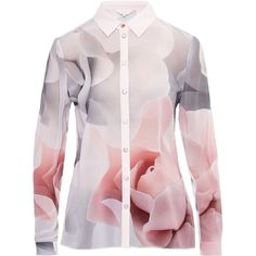 Ted Baker Tanisha Porcelain Rose Shirt ($140) ❤ liked on Polyvore featuring tops, blouses, pink, women, shirt blouse, ted baker, pink shirts, long sleeve shirts and ted baker shirt
