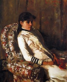 Edmund C. Tarbell (American 1862–1938) [Impressionism, Portrait, The Ten] Portrait of Mrs. Tarbell (as a Girl) (1884) Private Collection. – The Athenaeum