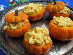 Menacing Mac and Cheese in Pumpkins. Serving this comfort food fave in pumpkins makes it ghoulishly great.