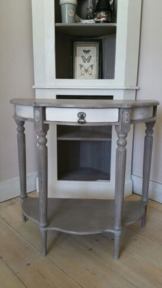 French Style Antique Half Moon Console Table Painted In Annie Sloan French  Linen And Old White