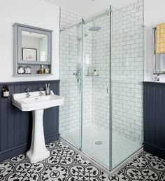 Bathroom makeover with roll top bath statement floor tiles and wood top panelling in this three-bedroom Victorian terraced house in Fordingbridge, Hampshire Bad Inspiration, Bathroom Inspiration, Bathroom Inspo, Bathroom Styling, Bathroom Interior Design, Bathroom Designs, Bathroom Renovations, Home Renovation, Remodel Bathroom