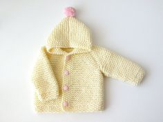 Girl Knit Hooded Jacket / Toddler Cream Cardigan  / Buttoned Sweater / One Year Old Birthday Outfit / Pom Pom Wool Hoodie / Kids Winter Coat