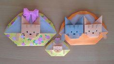 折り紙 猫 バスケット 簡単な折り方(niceno1)Origami cat in the basketmp4