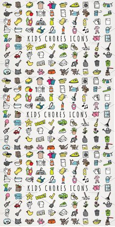 Fun Hand Drawn Kids Chores Icons Set This is a set of 89 vector format kids & toddlers chores clipart. Perfect for creating chore charts, printable stickers, buttons, kids rewards charts, and more! It's easy to change the color in any vector software and… Reward Chart Kids, Kids Rewards, Chore Chart Kids, Chore Charts, Parenting Humor, Kids And Parenting, Parenting Hacks, Toddler Chores, Chores For Kids