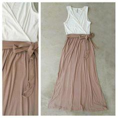 White + Taupe Colorblock Maxi Dress <3