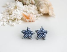 Starfish polymer clay earrings by FavoriteDream