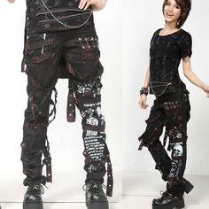 Cyber Punk Goth Gothic Pants Leggings Shorts for Men Women Page One - Liquiwork Punk Rock Fashion, Dark Fashion, Lolita Fashion, Gothic Fashion, Scene Outfits, Punk Outfits, Gothic Outfits, Alternative Mode, Alternative Fashion