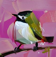 Black Cap Vireo original bird oil painting by Angela Moulton prattcreekart