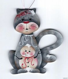 CAT with Snowman - Based on a Jamie Mills-Price design... handpainted Pamela House