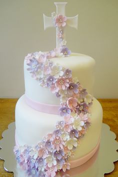 Delicate flwers Communion cake by Whimsy Girls Cakes