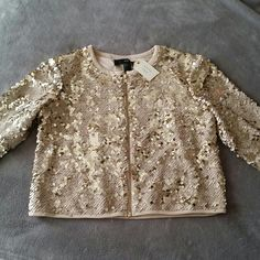 Sequined Jacket NWT sequined cream/gold colored jacket. Super adorable!  Perfect for the upcoming holidays! Lightweight with inside lining. Gold zipper. Forever 21 Jackets & Coats