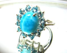 5.44CTW Genuine larimar and blue topaz in 925 sterling silver ring