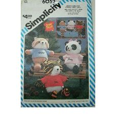 "STUFFED ANIMALS - APPROX 18"" WITH SHIRTS - SIMPLICITY SEWING PATTERN 6053 - SHIRT TALES"