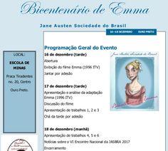 Prezados leitores, é com imenso prazer que divulgo a programação do V Encontro Nacional da Jane Austen Sociedade do Brasil, que acontecerá entre os dias 16 a 18 de dezembro de 2016, na cidade de Ou…