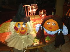 Painted pumpkins...Dorothy and the scarecrow. The wizard of Oz