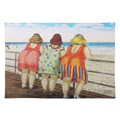 Vintage Illustrations - Shop Vintage Fat Bottomed Girls at Beach Postcard created by VintagerieEphemera. Personalize it with photos Beach Posters, Fat Women, Drawing People, Belle Photo, Make Me Smile, Funny Quotes, Funny Humor, Funny Stuff, Drawings