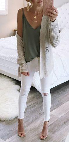 Necklace (2): - Cardigan: ✓ Shirt: - Jeans: - Shoes: ✓