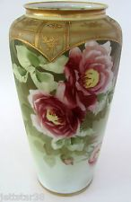 Antique Nippon Hand Painted Porcelain Vase Roses In Wreath Mark       c, 1900.