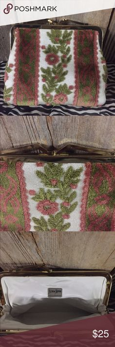 Neiman Marcus Felted Tapestry Clutch Coin Purse Pink & Green Felted Tapestry Clutch coin purse...vintage ....beautiful floral design ...Neiman Marcus...made in West Germany...very clean inside & outside....vinyl inside... No tears or stains Neiman Marcus Bags Clutches & Wristlets