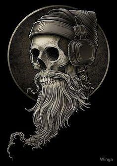 """Winya No.99"" Posters by Winya   Redbubble https://www.redbubble.com/people/winya/works/23291849-winya-no-99?p=long-t-shirt&style=long-t-shirt&body_color=black&print_location=front skull,beard,mustache,hipster,man,old man,headphone,popular culture,two tone,line work,manga studio,listen,brown,vintage,bad ass,dead,death,myth,darkness,dark,tattoo design,fantasy,spooky,devil,horror,bone,skeleton,soul,punk,punk rock,sick,dope,cool,street art"