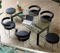Table LC6 le Corbusier, table cassina pietement acier verni noir mat ...
