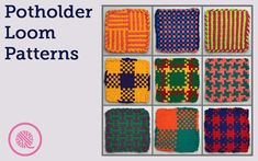 Woven Hot Pad Patterns - 9 Free Colorful Designs Weave these bright, beautiful potholders on any large potholder loom. I've designed 9 woven hot pad patterns just for you. Quick and easy craft for kids! Weaving For Kids, Weaving Tools, Weaving Projects, Loom Weaving, Potholder Loom, Crochet Potholder Patterns, Quick And Easy Crafts, Easy Crafts For Kids, Weaving Patterns