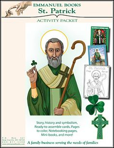 Reclaim St, Patrick's Day Catholic style...Our son Andrew did the illustration of St. Patrick....make A St. Patrick chaplet, read his confessions, learn about the symbols that truly represent St. Patrick Emmanuel Books only $4.95 instant download