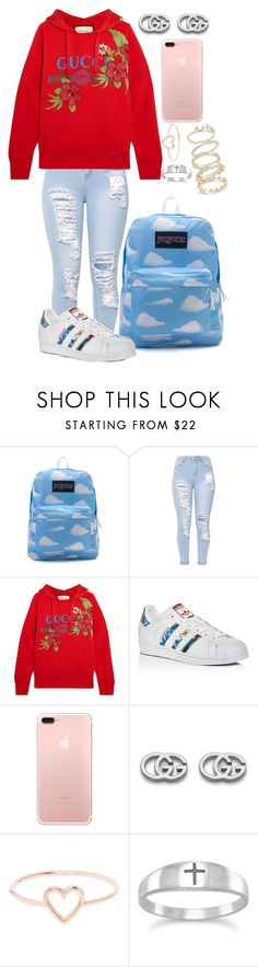 """August 26 2017"" by anastasiab01 ❤ liked on Polyvore featuring JanSport, Gucci, adidas, Love Is, BillyTheTree and Kendra Scott"
