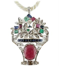 View this item and discover similar for sale at - Wonderful retrò brooch/pendant in 14 kt white gold mounted with an oval ruby in the lower part. The upper part is composed of leaves studded with diamonds, Gold Brooches, Bracelet Watch, Sapphire, White Gold, Pendant, Bracelets, Emeralds, Clarity, Accessories