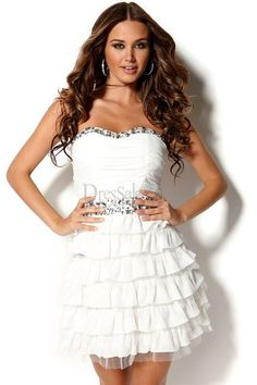Adorable White Chiffon Princess Sweet 16 Dress with Tiered Ruffles