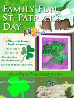 A fun plan for the whole family! From decor to food, games, crafts and activities. Fun With A Message Fun St. Patrick's Day Plan