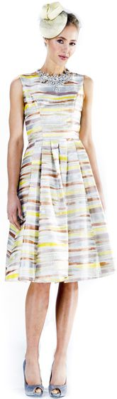 Liza Emanuele Hand Painted Silk Pleat Dress (silver/stripe) $649