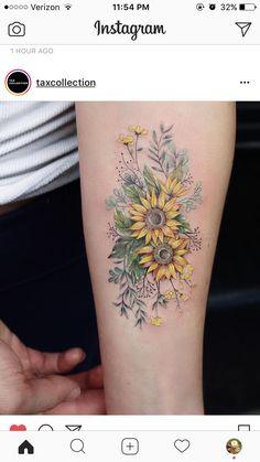 Sunflower 🌻 tattoo sunflower foot tattoos, sunflower tattoo sleeve, b Time Tattoos, New Tattoos, Body Art Tattoos, Sleeve Tattoos, Cool Tattoos, Small Tattoos, Tattoo Hip, Tatoos, Outer Forearm Tattoo