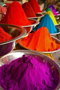 Colorful stalls with tikka powder in the mysore market, karnataka, south india
