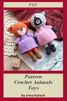 PATTERN 2 in 1 Crochet Fox + Crochet Raccoon. PATTERN Amigurumi Foxy and Raccoon pdf. Tutorial crochet toy animal pdf. Size of the finished toy about 23 cm (9') Level: medium. This pattern includes: - pdf file with detailed instructions in English; - 55 pages long and has a lot of pictures (about 80) to help you by working; #etsy #crochetamigurumi #crochetamigurumipattern #CrochetRaccoon #AmigurumiRaccoon #crochetRaccoonpattern #amigurumiRaccoon #CrochetFox #AmigurumiFox #amigurumifoxy