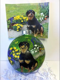 Hand Painted Glassware By Artist Cyndie Wade Handpainted Christmas Ornaments, House Ornaments, Painted Ornaments, Glass Ornaments, Holiday Storage, Pet Dogs, Pets, Christmas Animals, Paint Designs