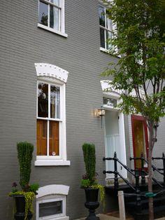 House exterior grey brick paint colours 70 New Ideas Terrace House Exterior, House Paint Exterior, Exterior Paint Colors, Exterior House Colors, Paint Colors For Home, Exterior Design, Paint Colours, Gray Exterior, Painted Brick Exteriors