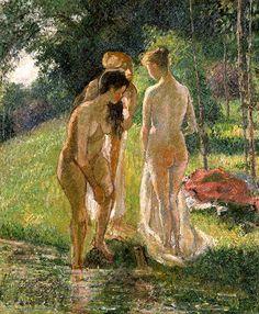 カミーユ・ピサロ《水浴する女たち(習作)》