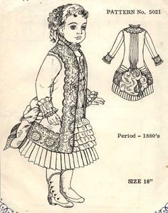 "18""ANTIQUE FRENCH BRU DOLL@1880's BUSTLE DRESS PATTERN/JUMEAU-GERMAN CHILD"