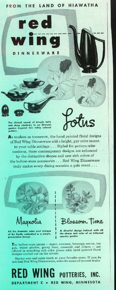 vintage Red Wing brochure  sc 1 st  Pinterest & RED WING DINNERWARE Merrileaf Pattern Very by northwoodscabin ...