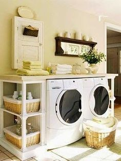 Small Laundry Room with great storage and counter space to fold laundry - www.hookedonhouses.net - 03/14/15 All right ladies and gentlem...