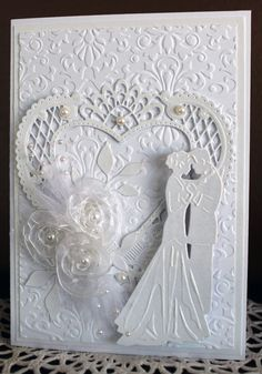 Wedding Card, OOAK, handmade, heart, ribbon flowers, by HydeParkHill on Etsy