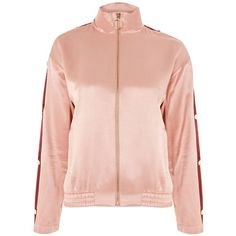 TopShop Popper Side Jacket ($110) ❤ liked on Polyvore featuring outerwear, jackets, snap jacket, pink jacket, topshop jackets, snap button jacket and tailored jacket