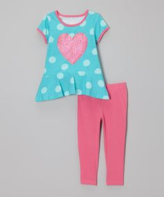 Take a look at this Turquoise Heart Ruffle Tunic & Leggings - Infant, Toddler & Girls on zulily today!